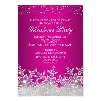 A festa de Natal de cristal do rosa quente do Convite 12.7 X 17.78cm