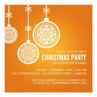 A festa de Natal elegante Ornaments a laranja Convite Quadrado 13.35 X 13.35cm