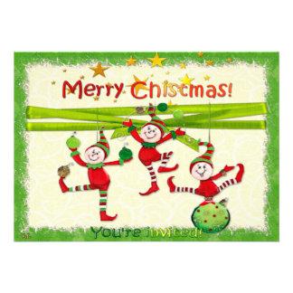 A festa de Natal evento festivos dos duendes convi