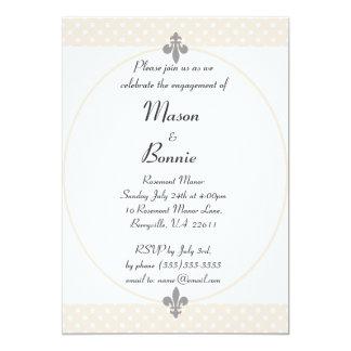 A festa de noivado bege elegante das bolinhas convite 12.7 x 17.78cm