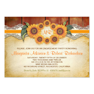 A festa de noivado de madeira rústica dos convite 12.7 x 17.78cm