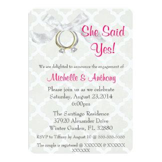 A festa de noivado de prata do anel de noivado do convite 12.7 x 17.78cm