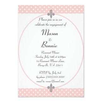 A festa de noivado elegante das bolinhas da pétala convite 12.7 x 17.78cm