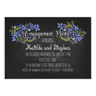 A festa de noivado floral moderna do quadro convite 12.7 x 17.78cm