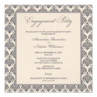 A festa de noivado impressionante do damasco convite quadrado 13.35 x 13.35cm