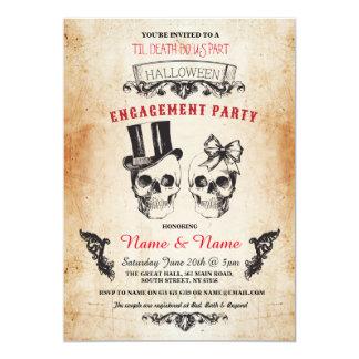 A festa de noivado o Dia das Bruxas do crânio Convite 12.7 X 17.78cm