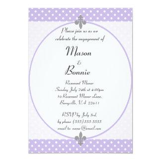 A festa de noivado violeta elegante das bolinhas convite 12.7 x 17.78cm