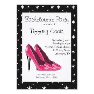 A festa de solteira cor-de-rosa & preta do salto convite 12.7 x 17.78cm