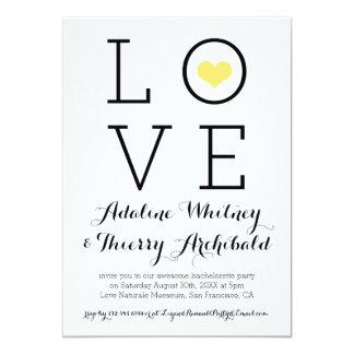 A festa de solteira simples amarela do amor convite 12.7 x 17.78cm
