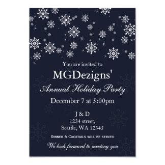 a festa natalícia incorporada festiva da neve azul convite 12.7 x 17.78cm