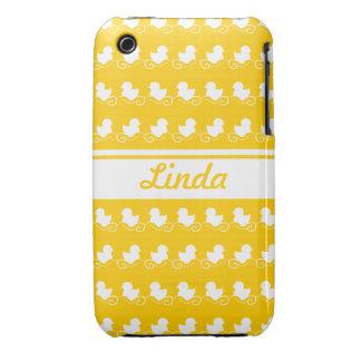 a fileira do branco ducks o companheiro amarelo do capa de iPhone 3 Case-Mate