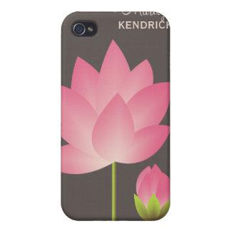 A flor de lótus brancos cor-de-rosa floresce costu capa iPhone 4