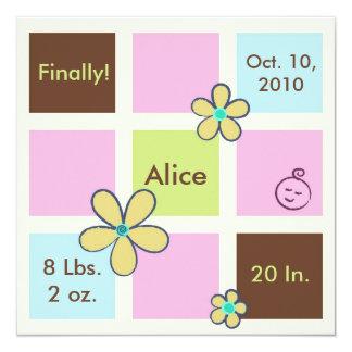A flor Doodles o bebé Convite Quadrado 13.35 X 13.35cm