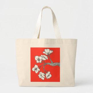 a flor ramifica saco/vermelho bolsa tote grande