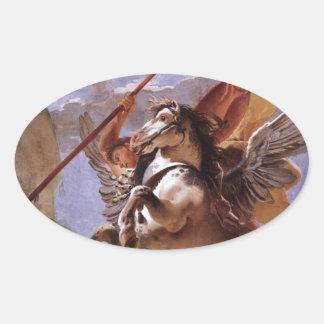 A força da eloquência, do Bellerophon e do Pegasus Adesivo Oval
