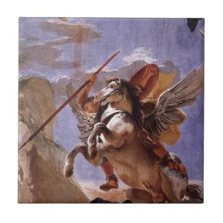A força da eloquência, do Bellerophon e do Pegasus Azulejo Quadrado Pequeno