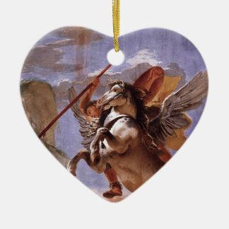 A força da eloquência, do Bellerophon e do Pegasus Ornamento De Cerâmica Coração