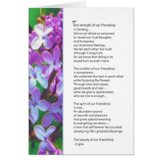 A força de nossa amizade… cartão comemorativo