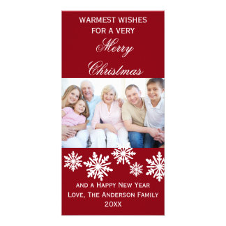 A foto a mais morna dos desejos dos flocos de neve cartão com foto