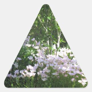 A foto da natureza floresce o DIVERTIMENTO de Adesivo Triangular
