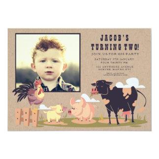 A foto do aniversário de criança do Barnyard dos Convite 12.7 X 17.78cm