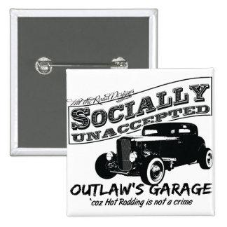 A garagem do fora da lei Hot rod social unaccepte Boton