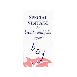 A garrafa de vinho do casamento no inverno etiquet etiqueta de endereço
