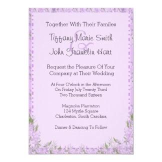 A glicínia floresce o convite do casamento