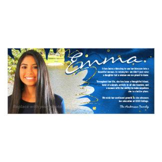 A graduação personalizada carda | azul & ouro 10.16 x 22.86cm panfleto