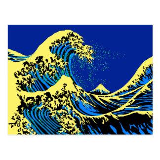 A grande onda de Hokusai no estilo amarelo azul do Cartão Postal