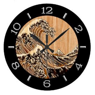 A grande onda de Hokusai no seletor de bambu do Relógios De Pendurar