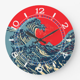 A grande onda de Hokusai no seletor do estilo do Relógios De Pendurar