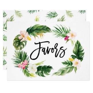 A grinalda floral tropical da aguarela favorece o convite 12.7 x 17.78cm