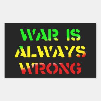 A guerra é sempre Rasta errado Adesivos Retangular
