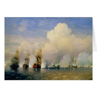 A guerra Russo-Sueco do mar perto de Kronstadt em Cartão