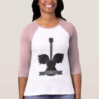 A guitarra voa o Raglan das senhoras Camiseta