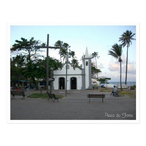 A igreja no Praia faz o cartão do forte Cartões Postais