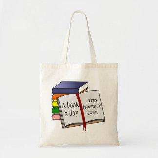 A instrução do apoio incentiva a leitura sacola tote budget