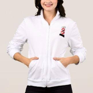 A jaqueta das mulheres vermelhas e brancas do