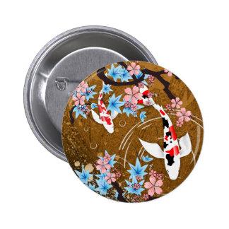 A lagoa de Koi - madeira - japonês projeta o botão Bóton Redondo 5.08cm