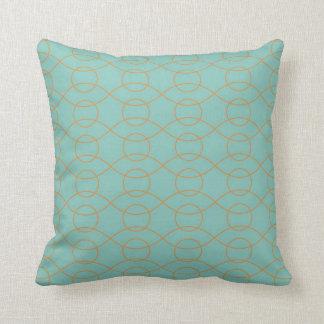 A laranja azul moderna elegante circunda listras o travesseiros