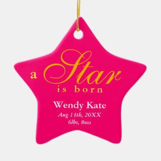 A laranja cor-de-rosa uma estrela é anúncio ornamento de cerâmica estrela