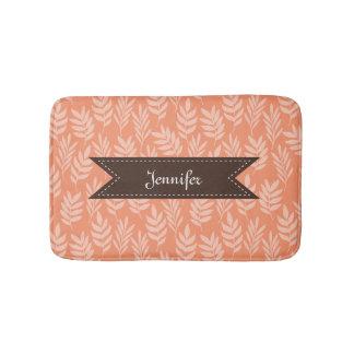 A laranja macia elegante deixa o teste padrão tapete de banheiro