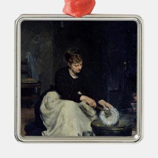 A lavagem da louça da empregada doméstica da ornamento quadrado cor prata