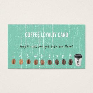 A lealdade do café carda a madeira verde do cartão de visitas