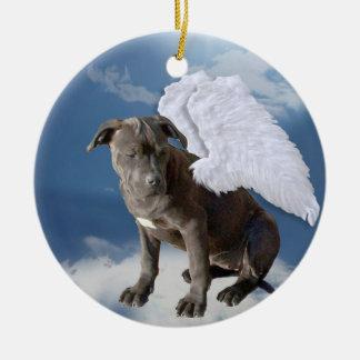 A lei da caridade, anjo do salvamento do antro de ornamento de cerâmica redondo