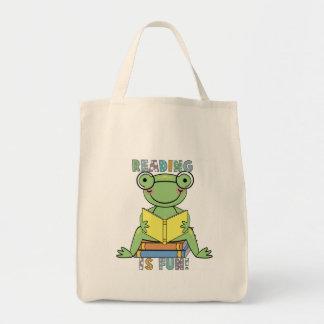 A leitura do sapo é t-shirt e presentes do diverti sacola tote de mercado