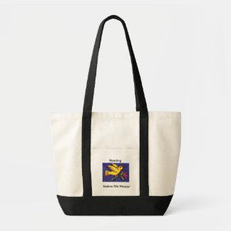 A leitura faz-me o saco de livro feliz bolsas de lona