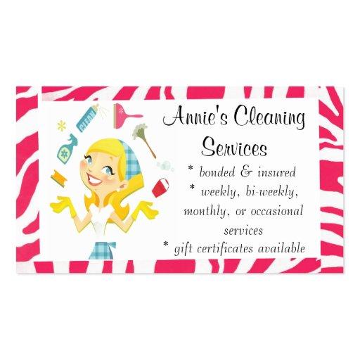 A limpeza presta serviços de manutenção ao rosa do cartoes de visita