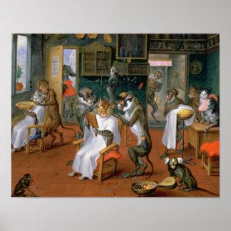 A loja de barbeiro com macacos e gatos poster